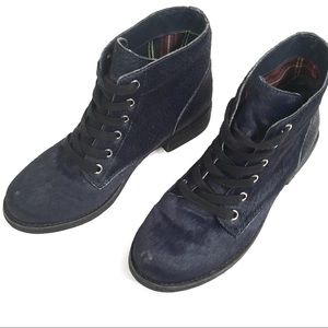 SAM EDELMAN Navy Bleeker Ink Blue Calf Ankle Boot